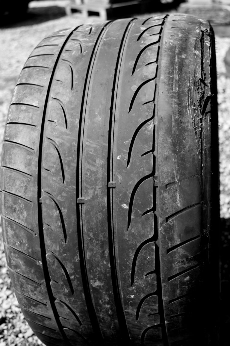 bald tyre b and w